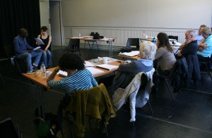 Writers observing as a script is workshopped